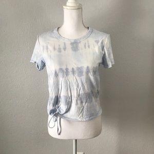 Aerie Blue Tie Dye Cropped Short Sleeve Tee Top